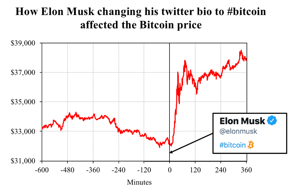 Bitcoin price after Elon Musk changed his bio. That's what we call influence.