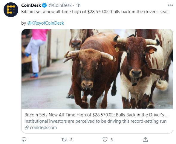 New high for Bitcoin