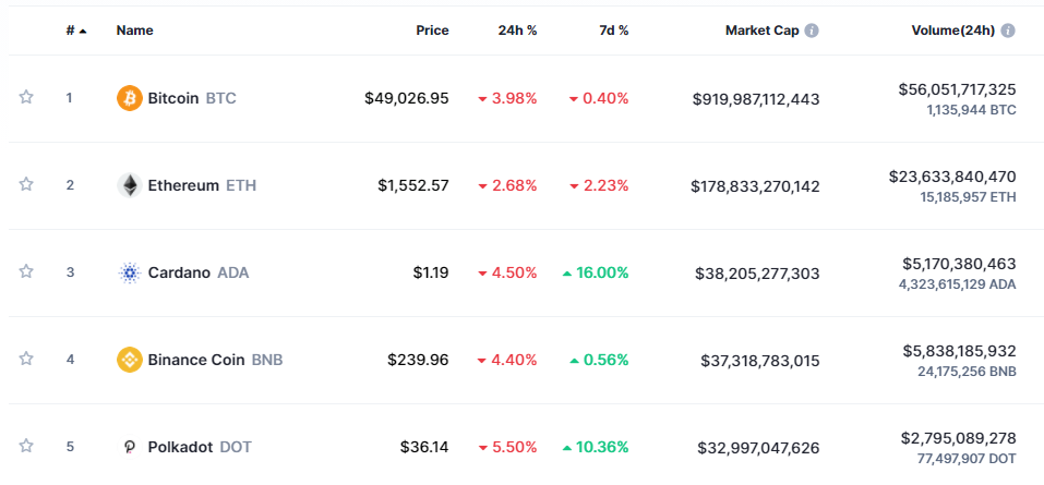 Top cryptocurrencies by market capitalization