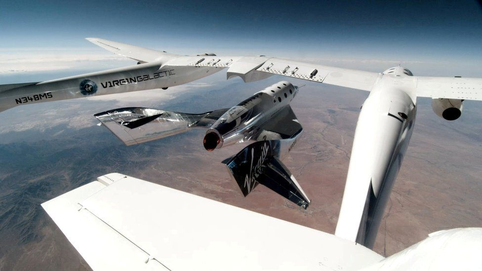 Virgin Galactic: Richard Branson flying into space carried by two aircrafts (Source: BBC)
