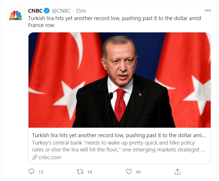 turkish lira tweet