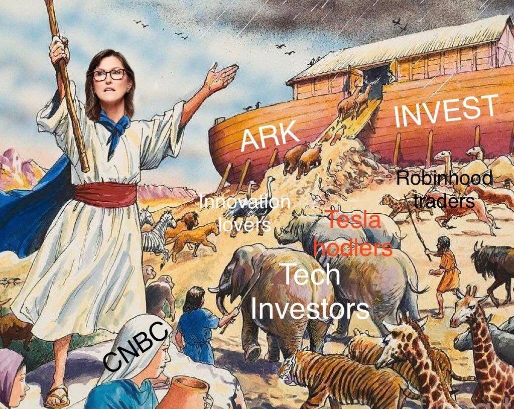 ARK Invest following turns biblical - funny meme