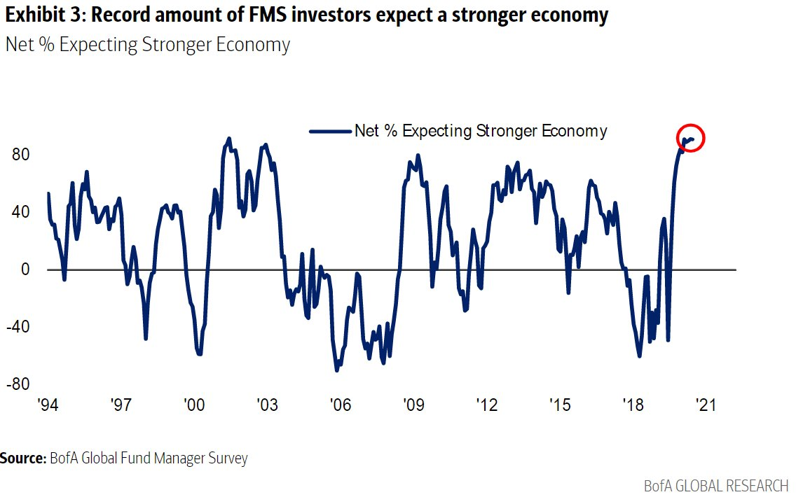 A record 91% of BofA survey respondents expect a stronger economy