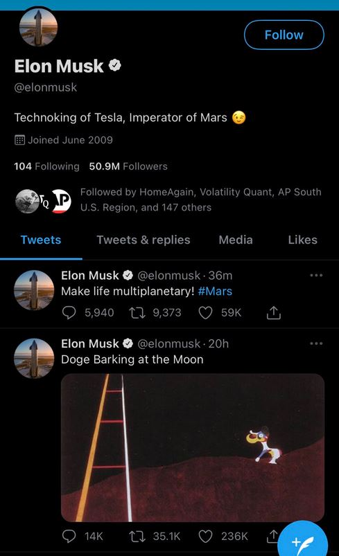 Dogecoin to the moon! Helped by more Elon Musk tweets