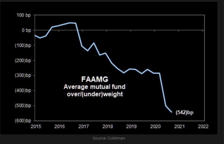 FAAMG average mutual fund relative exposure
