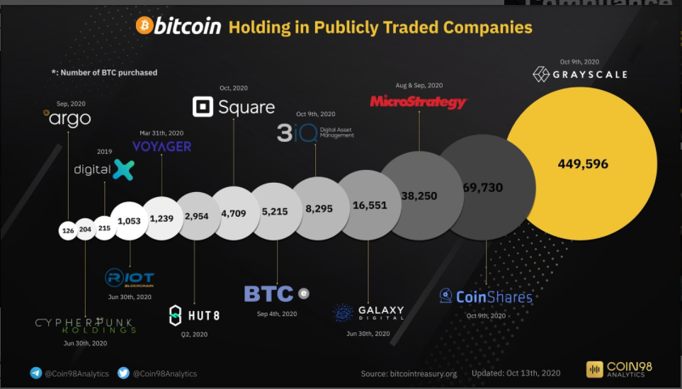 Bitcoin holding in publicly traded companies