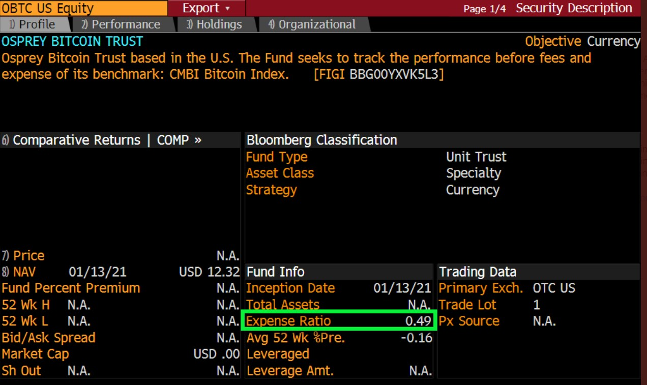 Osprey Bitcoin ETP Bloomberg Description page