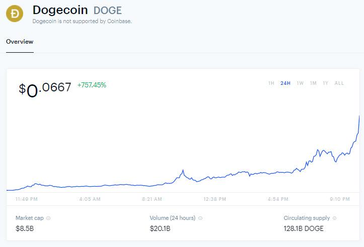 Dogecoin is up 800%: WallStreetBets and Elon Musk are involved