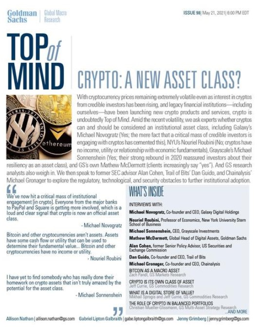 Goldman Sachs 1st page report on Crypto as an asset class