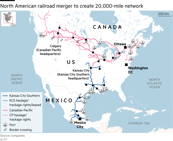 North America merger will give birth to a 20k miles railroad network