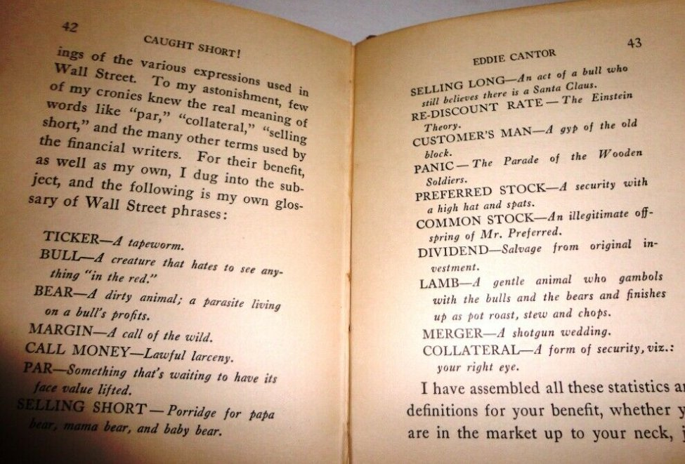 Something light-hearted for Thanksgiving... these 1929 market definitions are hilarious!