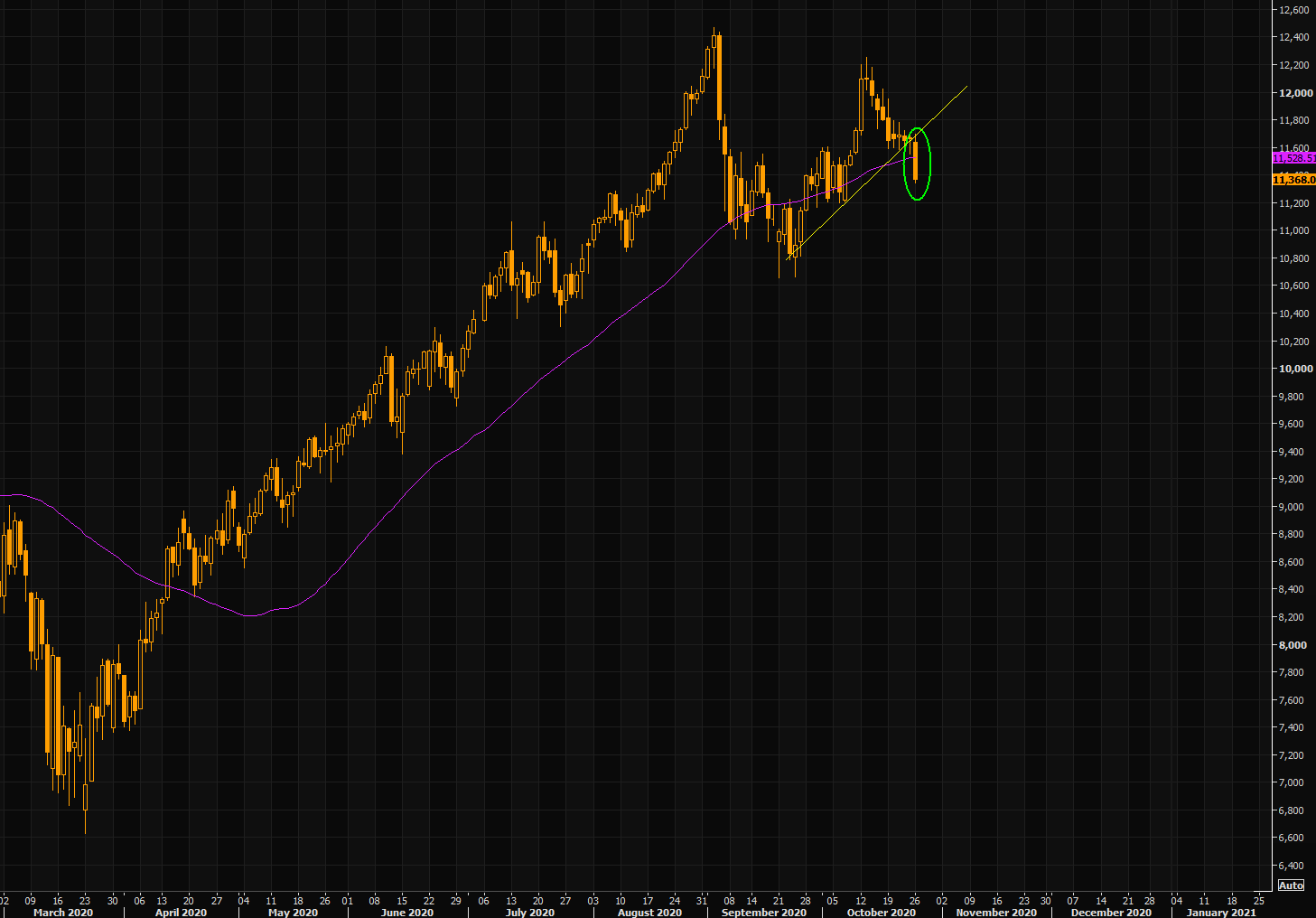 Nasdaq chart (with 50 day moving average)