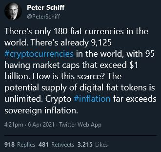 The anti crypto scarcity argument from Petter Schiff