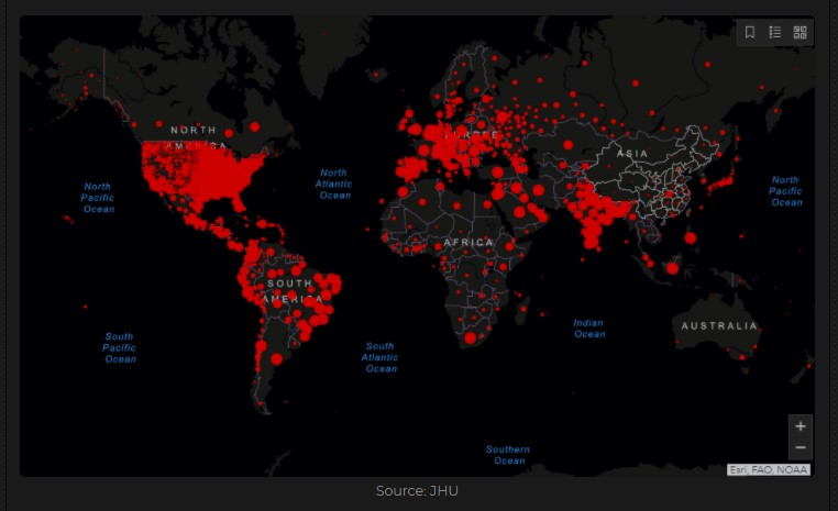 Red dots shows cumulative covid-19 cases by country