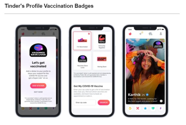 Tinder's profiles vaccination badges