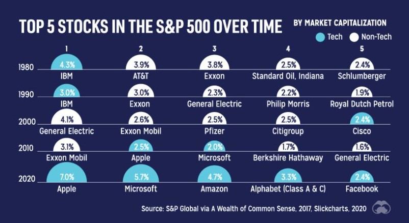 Top 5 stocks in the S&P 500 over time